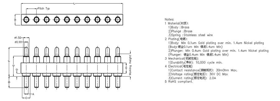 10 Pin Pogo Pin Connector