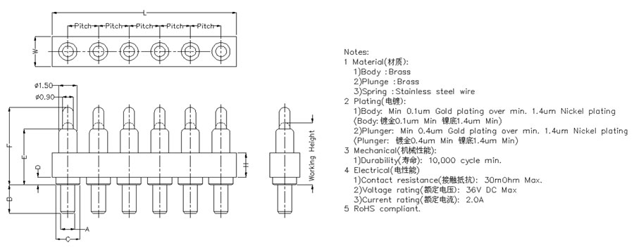 6 Pin Pogo Pin Connector plug in type